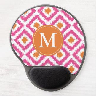 モノグラムのなピンクの蜜柑のダイヤモンドのイカットパターン ジェルマウスパッド