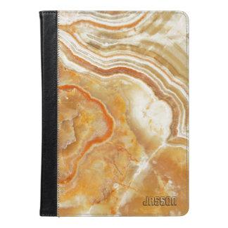 モノグラムのなベージュ色およびブラウンの大理石の石 iPad AIRケース