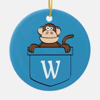 モノグラムのなポケットのおもしろいな猿 セラミックオーナメント