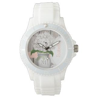 モノグラムのなメーソンジャーの白のアジサイ 腕時計