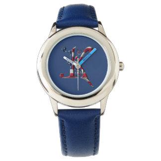 モノグラムのなモノグラムKの米国旗色 腕時計