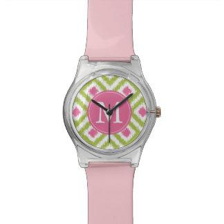 モノグラムのなライムグリーンのピンクのダイヤモンドのイカットパターン 腕時計
