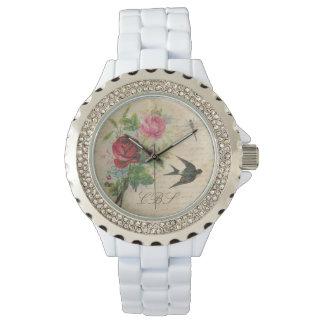 モノグラムのなヴィンテージのバラのつばめの鳥のトンボ 腕時計