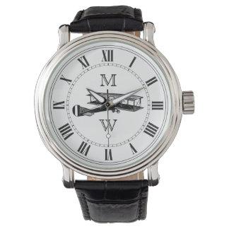 モノグラムのなヴィンテージの飛行機 腕時計