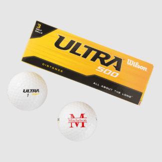 モノグラムのな十字バー赤いLR ゴルフボール