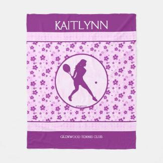 モノグラムのな女の子のテニスのデキセドリン錠の花柄 フリースブランケット