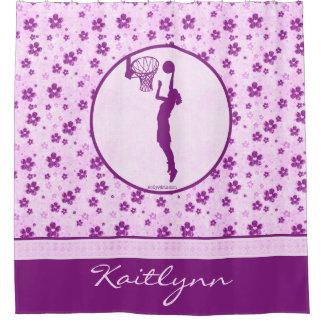 モノグラムのな女の子のバスケットボールのデキセドリン錠の花柄 シャワーカーテン