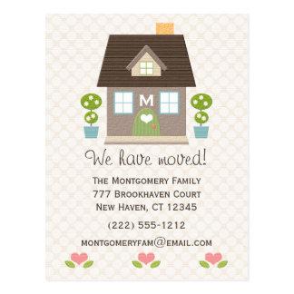 モノグラムのな家の移動発表の郵便はがき ポストカード