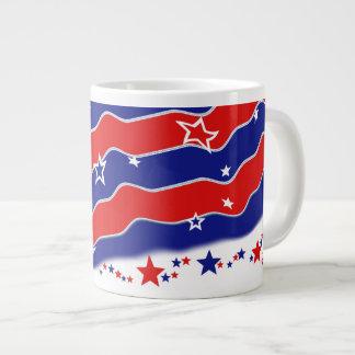モノグラムのな星条旗 ジャンボコーヒーマグカップ