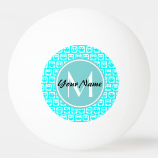 モノグラムのな水のターコイズのフクロウ 卓球ボール