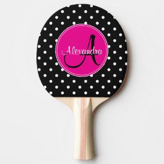 モノグラムのな水玉模様の上品のイニシャルの名前の黒のピンク 卓球ラケット