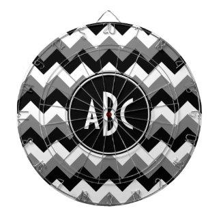 モノグラムのな灰色の白黒ジグザグ形 ダーツボード