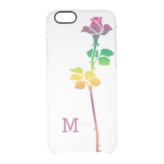 モノグラムのな独身のなピンクのバラの習慣 クリアiPhone 6/6Sケース
