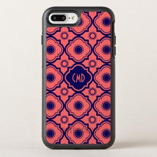 モノグラムのな珊瑚の赤くおよび青のクローバー オッターボックスシンメトリーiPhone 8 PLUS/7 PLUSケース