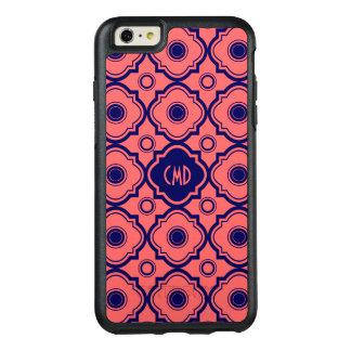 モノグラムのな珊瑚の赤くおよび青のクローバー オッターボックスiPhone 6/6S PLUSケース
