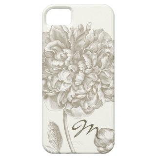 モノグラムのな白の色合いのシャクヤクの花 iPhone SE/5/5s ケース