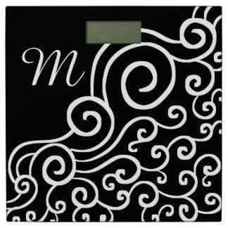 モノグラムのな白黒渦巻パターン 体重計