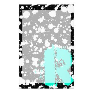モノグラムのな白黒(ばちゃばちゃ)跳ねるのペンキの芸術 便箋