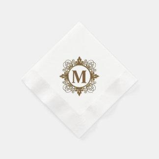 モノグラムのな紙ナプキン 縁ありカクテルナプキン