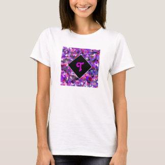 モノグラムのな紙吹雪の紫色 Tシャツ