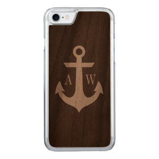 モノグラムのな素朴で暗い木製のいかり CARVED iPhone 8/7 ケース