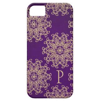 モノグラムのな紫色および金ゴールドのインディアンパターン iPhone SE/5/5s ケース