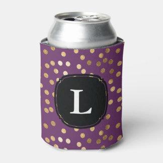 モノグラムのな紫色および金ゴールドのグリッターの水玉模様 缶クーラー