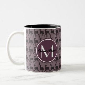 モノグラムのな紫色のすみれ色のシカ名前入りな|のN2 ツートーンマグカップ