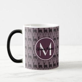 モノグラムのな紫色のすみれ色のシカ名前入りな|のN2 モーフィングマグカップ