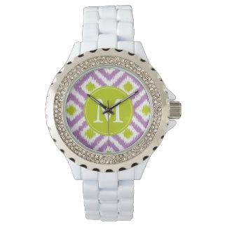 モノグラムのな紫色の緑のダイヤモンドのイカットパターン 腕時計
