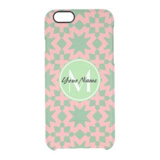モノグラムのな緑およびピンクのスタイリッシュでシックなパターン クリアiPhone 6/6Sケース