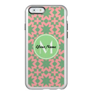 モノグラムのな緑およびピンクのスタイリッシュでシックなパターン INCIPIO FEATHER SHINE iPhone 6ケース
