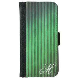 モノグラムのな緑のストライプの電話箱 iPhone 6/6S ウォレットケース