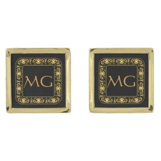 モノグラムのな線条細工の正方形の金ゴールドのカフスボタン ゴールド カフスボタン