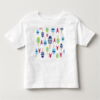モノグラムのな航海のなテーマのブイおよびロブスター トドラーTシャツ