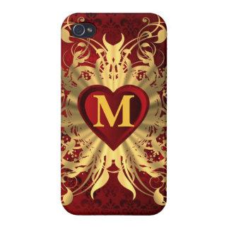 モノグラムのな赤いハートおよび金ゴールドパターン iPhone 4/4S COVER