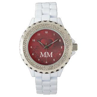 モノグラムのな赤いハート 腕時計