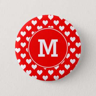 モノグラムのな赤と白のハートパターン 缶バッジ