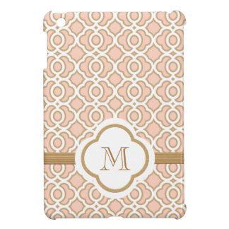 モノグラムのな赤面のピンクの金ゴールドのモトッコ人 iPad MINIケース