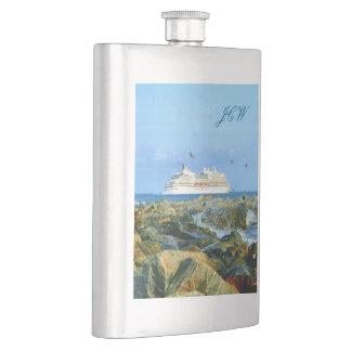 モノグラムのな遊航船との海景 フラスク