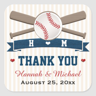 モノグラムのな野球は結婚式の引き出物感謝していしています スクエアシール