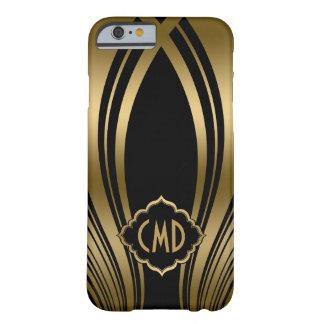 モノグラムのな金ゴールドおよび黒い波状は2つを縞で飾ります BARELY THERE iPhone 6 ケース