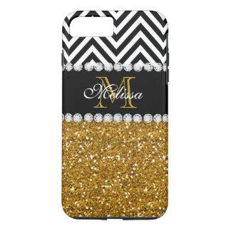 モノグラムのな金ゴールドのグリッターの白黒シェブロン iPhone 8 PLUS/7 PLUSケース