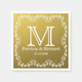モノグラムのな金ゴールドのグリッターの結婚 スタンダードカクテルナプキン