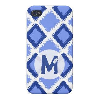 モノグラムのな青いダイヤモンドのイカットパターン iPhone 4/4S CASE