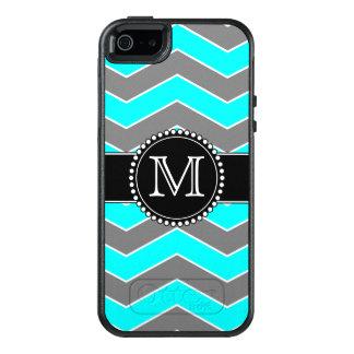 モノグラムのな青緑色の青、灰色、黒いシェブロン オッターボックスiPhone SE/5/5s ケース