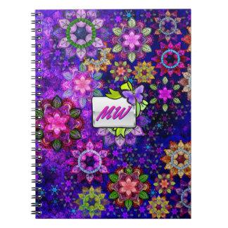 モノグラムのな鮮やかな爆発の水彩画の曼荼羅 ノートブック
