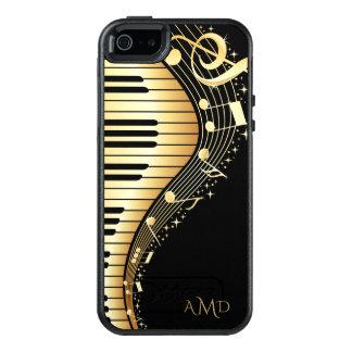 モノグラムのな黒および金ゴールドのミュージカルのキーボード オッターボックスiPhone SE/5/5s ケース