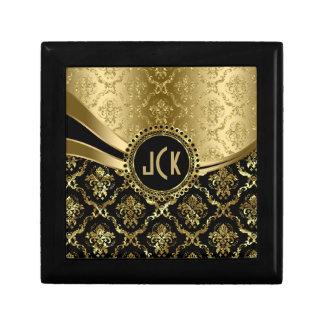 モノグラムのな黒及び金ゴールドの花のダマスク織2c ギフトボックス