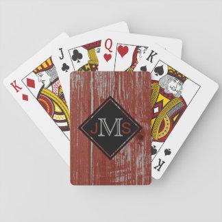 モノグラムのな3手紙 の素朴な納屋の木製の赤 トランプ